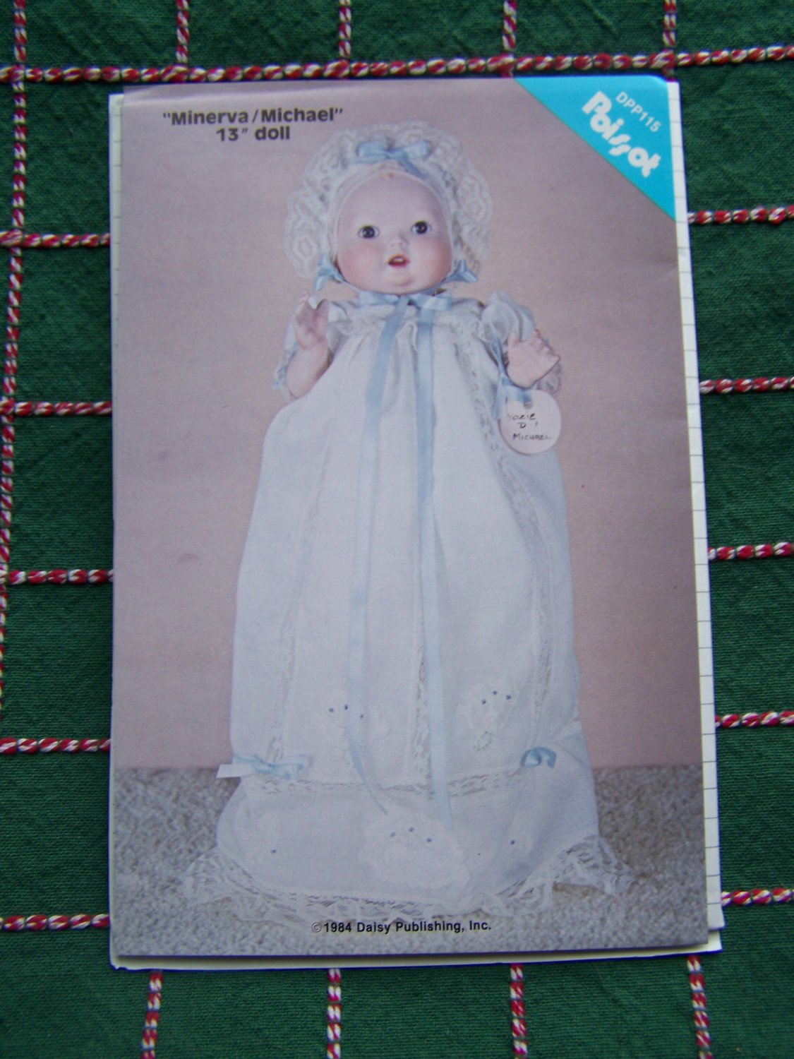 "Free USA S&H New 1984 Vintage 13"" Doll Clothing Sewing Patterns Christening Gown Slip Hat"