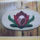 FREE USA S&H Vintage Water Lily Applique Pattern Calico Fabric Country Craft Wallhanging