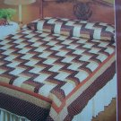Free USA S&H Vintage 80s Quilting Pattern Rail Fence Quilt Sizes Twin Double Queen King