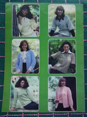 1970s Vintage Misses Knitting Crochet Lace Patterns Sweaters Tops Cardigans 124