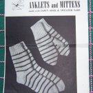 USA Free S&H Vintage Girls Knitting Patterns Mittens & Socks American Thread 202