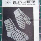 USA Free S&H Vintage Girls Knitting Patterns Mittens & Socks American Thread 202
