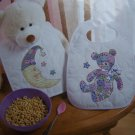 USA Free S&H  New Bucilla Stamped Cross Stitch Craft Kit 2 Baby Bibs Pre Quilted Fabric