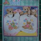 S&H USA Free New Stamped Cross Stitch Quilted Bear Baby Bibs Craft Kit