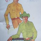 Uncut Mens Vintage Sewing Pattern 220 Western Cowboy Shirts Fancy Yoke Front Pockets Chest 38