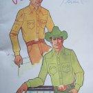 Uncut Mens Vintage Sewing Pattern 220 Western Cowboy Shirts Fancy Yoke Front Pockets Chest 38