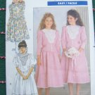Uncut Girls 7 8 10 Sewing Pattern Vintage Dress Full Skirt Puff Sleeves Tie Back 4489
