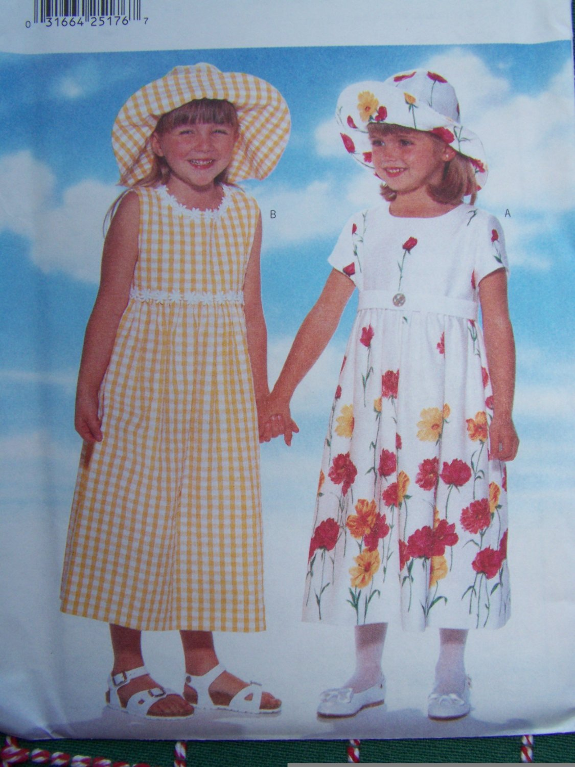 USA Free S&H New Girls 5 6 6X Raised Waist Dirndl Skirt Back Ties Hat Sewing Pattern 4901