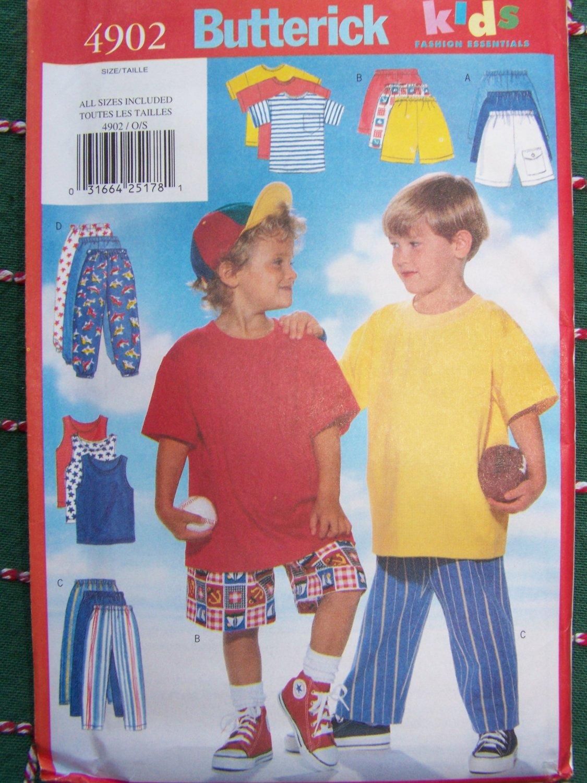 New Boys 2 3 4 5 6 6X T Shirt Tank Top Shorts Pants Butterick Kids Sewing Pattern 4902