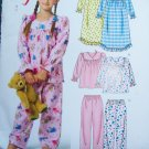 Toddler Girls 2 3 4 5 Sewing Pattern 4955 Ruffled Christmas Winter Pajamas Nightgown Top Pants