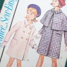 New 1960's Vintage Girls Sz 4 Lined Coat & Detachable Cape Topper Sewing Pattern 3416