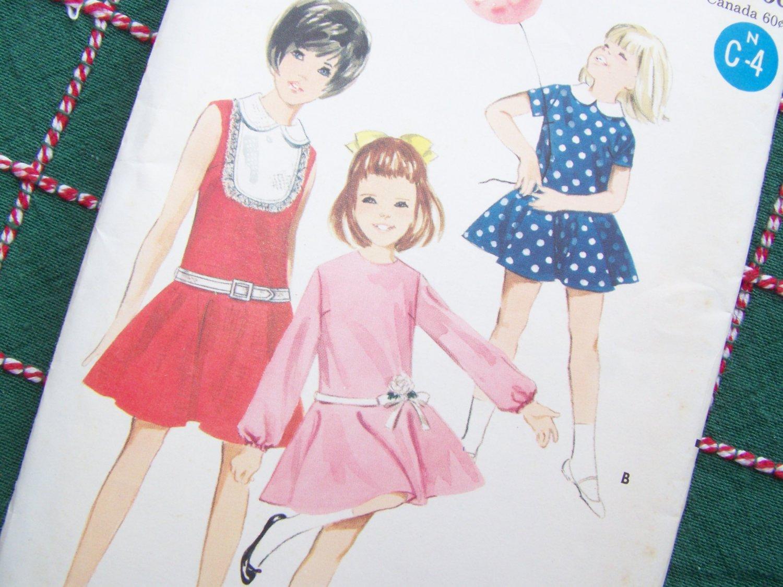 Uncut 1960's Girls Sz 4 Dress Sewing Pattern 4143 Twirly Circle Skirt Round or Peter Pan Collar