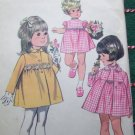 Little Girls Sz 2 Vintage 60's Sewing Pattern 9600 Empire Dress Puff Sleeves Lined Coat