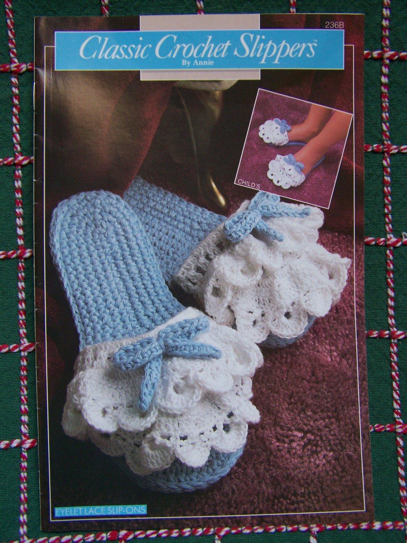 USA Free S&H 7 Classic Slippers Annie's Attic Crochet Patterns Womens & Girls S M L