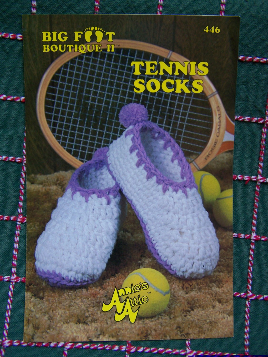 0 USA S&H 1980's Vintage Annie's Crocheted Tennis Socks Pattern Big Foot Boutique ll