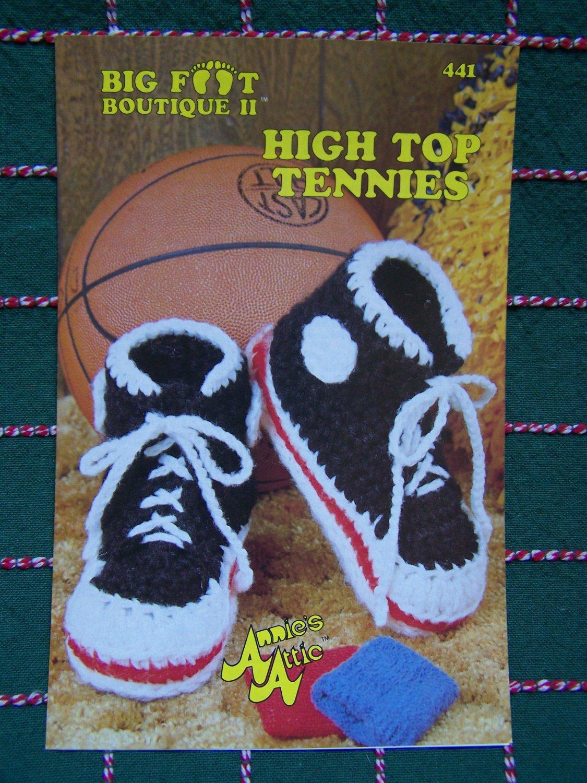 USA 0 S&H Annie's Crochet Pattern High Top Tennies Tennis Shoes Unisex Adult + Kids Sizes S M L