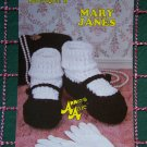 Free S&H USA Vintage Crochet Pattern Annies Mary Jane Shoes Women & Girls Sizes S M L