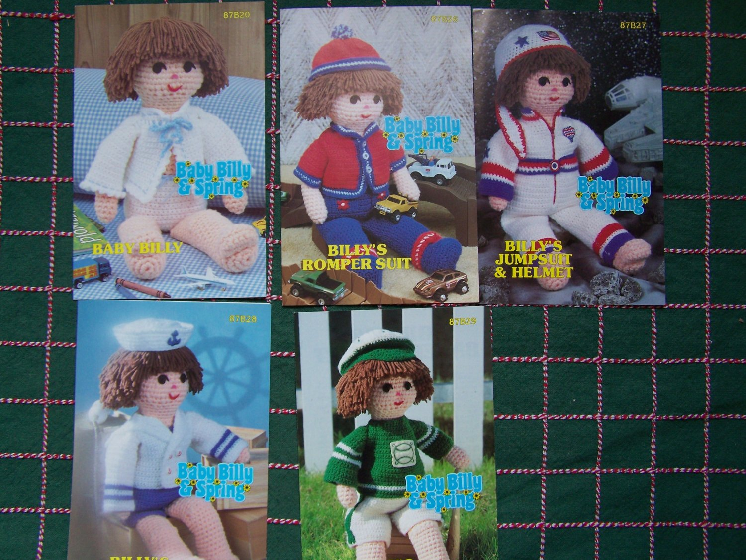 Vintage Annie's Attic Crochet Pattern Lot Baby Billy Doll and 5 Outfits