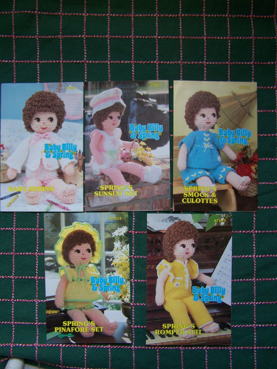 Vintage Annie's Attic Lot Baby Spring's Doll Crochet Patterns & 5 Clothing Outfits 1983