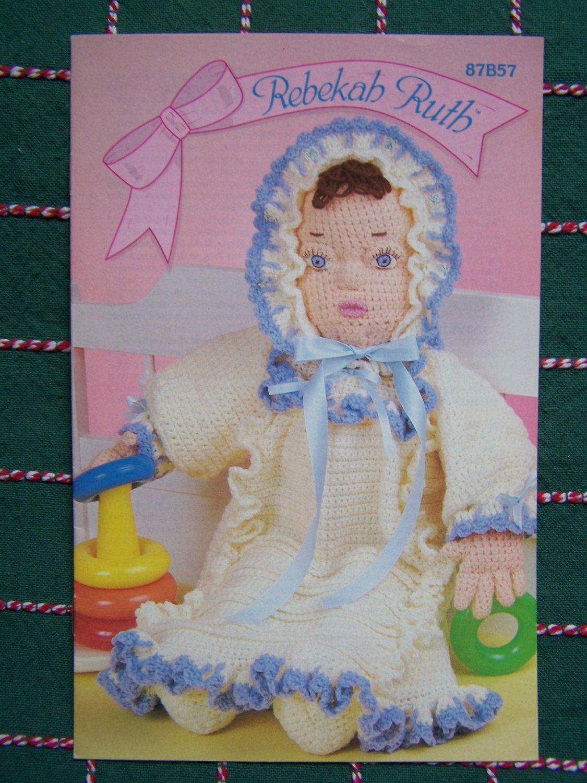 Free USA S&H Vintage Annies Crochet Doll Pattern Rebekah Ruth W/ Dress & Bonnet 87B57
