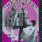 3 Vintage Knitting Patterns Wrap Ups Capes Military Fringed Poncho 459