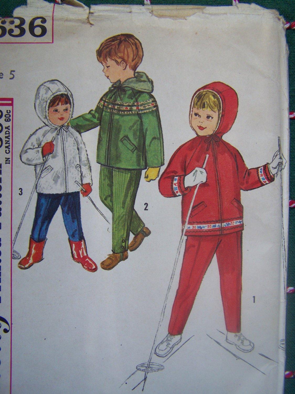 New 1960s Vintage Children's 5 Sewing Pattern 4636 Ski Clothing Lined Hoodie Jacket Pants Skiing