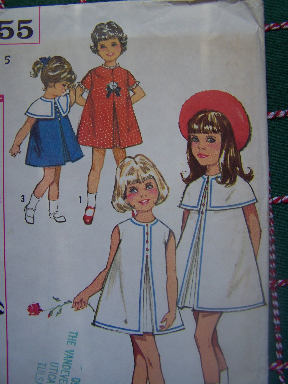 Uncut Vintage 60's Girls Sewing Pattern 5855 Inverted Pleat Dress Detachable Capelet