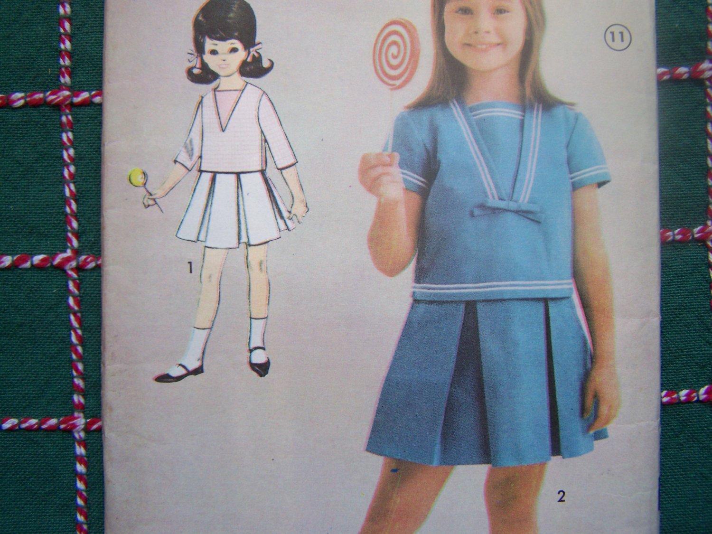 Uncut Girls Vintage Sewing Pattern 3132 Inverted Pleat Skirt Opt Suspenders Shirt
