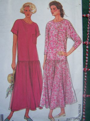 Uncut Vintage Sewing Pattern 9824 Misses Pullover Drop Waist Dress Petite S M L XL