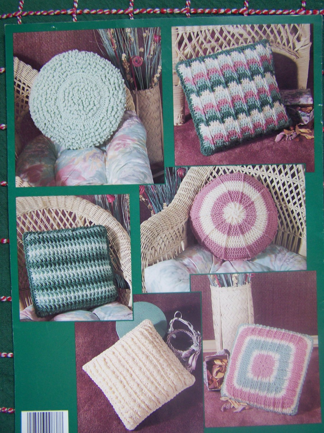Vintage Crochet Patterns To Make 2 Round & 4 Square Pillows 838 Book 3