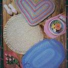 Vintage 1980s Quick Crochet Throw Rugs 5 Patterns Oval Round Heart Tartan Melon