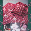 Free USA S&H  Annie's Crochet Patterns Fantasy Lapghan Pillow Baby Set Bear Fruit Basket 8S002