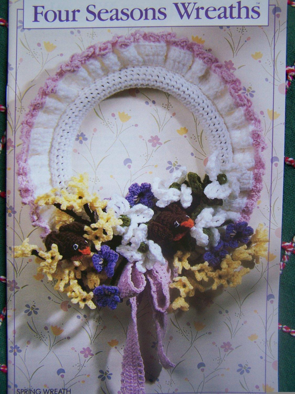 USA Free S&H Vintage Annie's Attic Crochet Patterns Four Seasons Wreaths 87F35