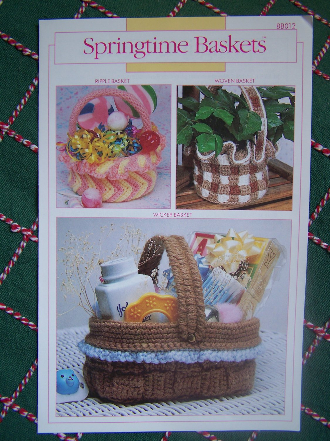 Free USA S&H 3 Vintage Crocheted Basket Patterns Annie's Ripple Woven Wicker