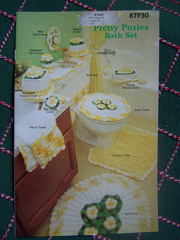 USA Free S&H Vintage Annie's Crochet Pattern Book Posies Bath Set Bathroom Decor 87P30