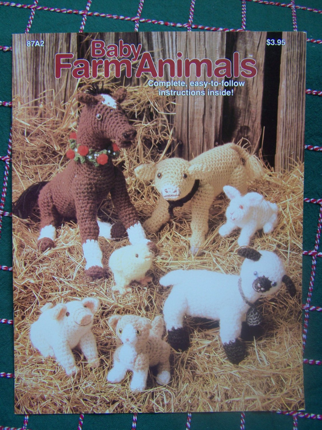 Free USA S&H Vintage Crochet Patterns Baby Farm Animals Horse Cow Pig Chick Lamb Cat Bunny