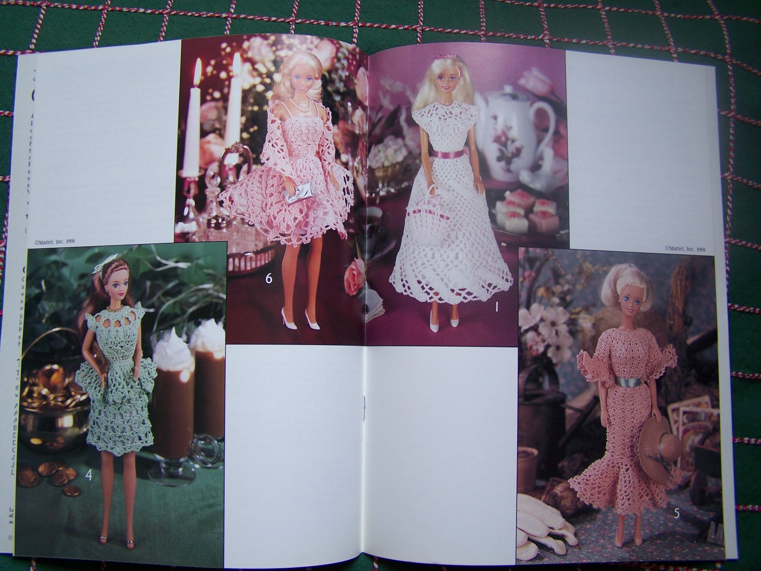 Free USA S&H Thread Crochet Patterns 7 Barbie Dress Hat Purse Stole 2172