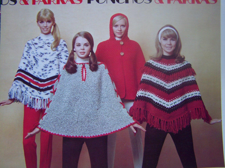 Free USA S&H 1960's Vintage Knitting Pattterns 8 Cape Poncho Parkas Hoodie Fringe