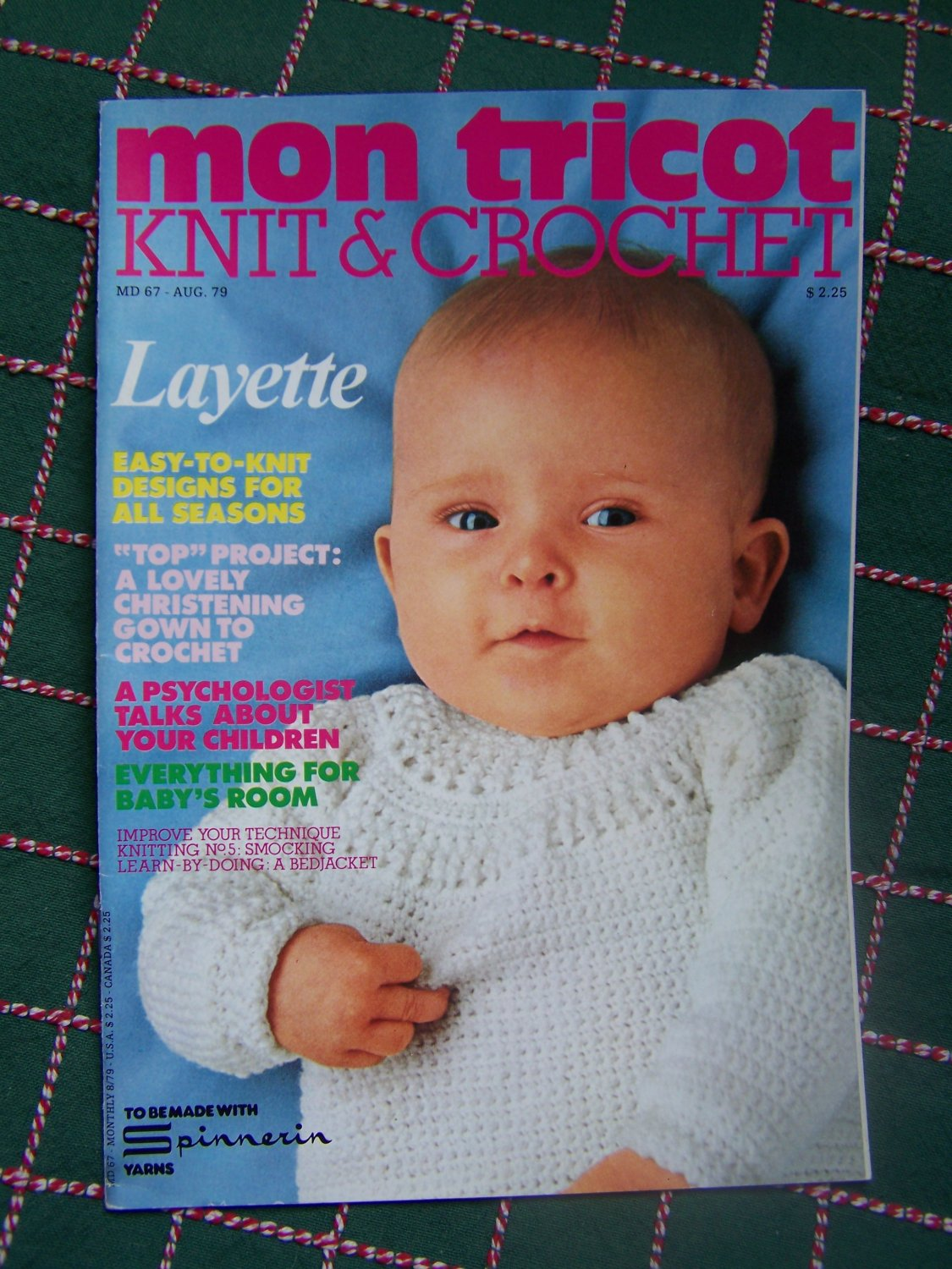 Vintage Aug 1979 Mon Tricot Knitting & Crochet Patterns Book Layette Baby NB 3 6 9 12 18 Months