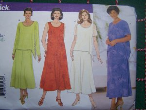 S&H Free USA New Women's Uncut Sewing Pattern 5432 Dress Overblouse Skirt Plus Size 28 30 32W