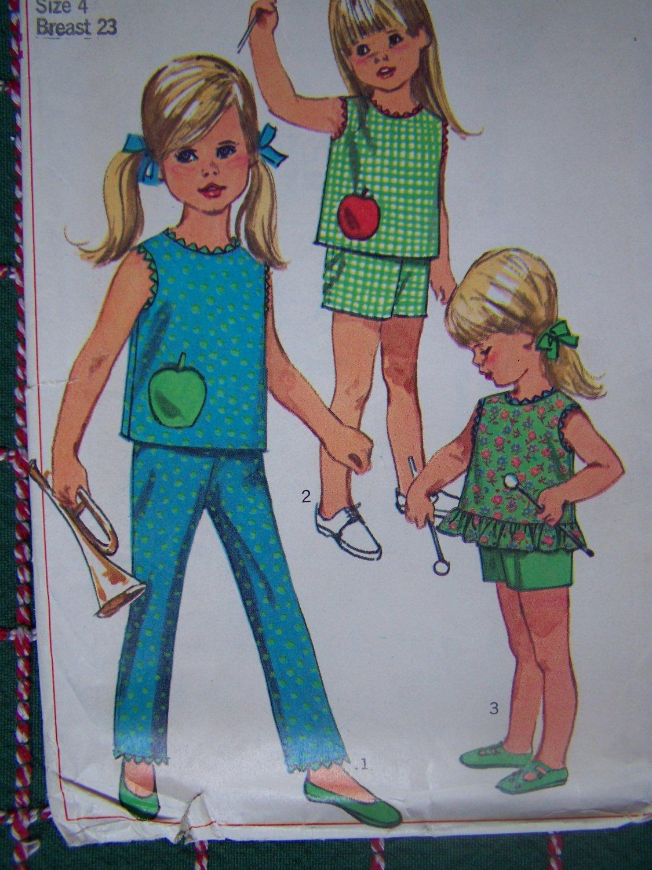 Uncut Girls Vintage Sewing Pattern 7113 Summer Top SHorts Pants USA Free S&H