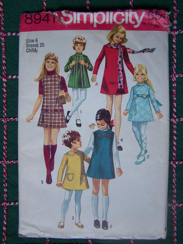 USA Free S&H Uncut Vintage Girls 6 Jumper Dress & Dresses Sewing Pattern 8941