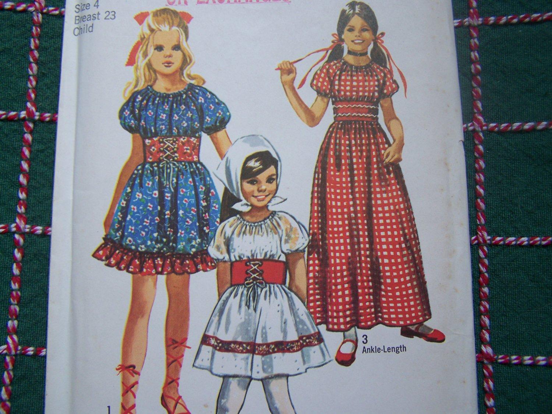 S&H Free USA Uncut Toddler Girls Vintage Peasant Gypsy Dress Sewing Pattern 9244 Costume