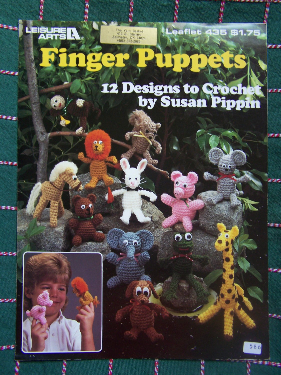 12 Crochet Finger Puppets Animal Patterns Lion Dog Elephant Frog Monkey Mouse +