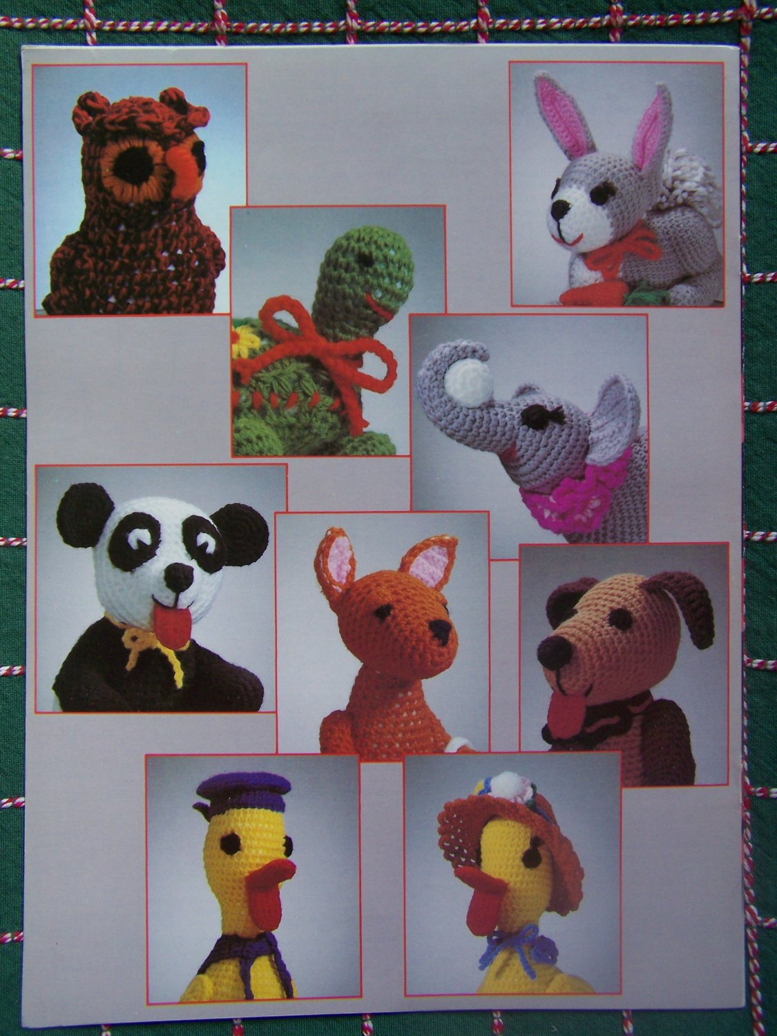 9 Vintage Crochet Patterns Stuffed Animals Owl Turtle Kangaroo & Baby Ducks