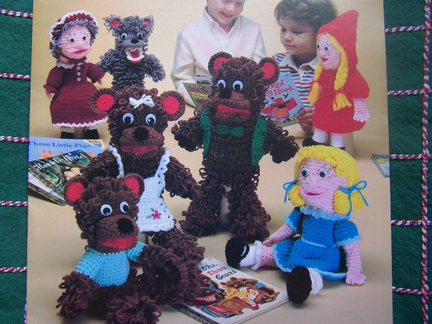 USA Free S&H Vintage Crochet Patterns Fairy Tale Stuffed Hand Puppets Dolls