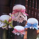 1980s Annie's Crochet Patterns Jar Doilies Cozies Lid Covers Pint or Quart Canning Jars