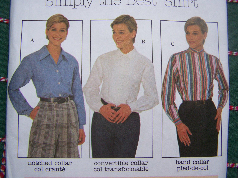 Uncut Plus Size Sewing Pattern 8061 Long Sleeve Shirts Collar Notched Band Convertible  20 22 24
