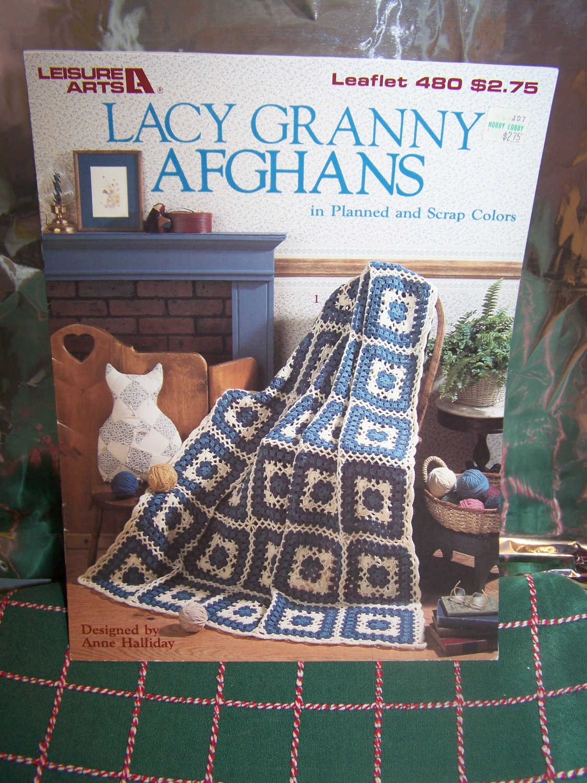 4 Vintage Crochet Patterns Lacy Granny Afghans 480