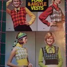 1970's Vintage Hippie Knitting Patterns 8 Womens Plaid & Argyle Vests 2562